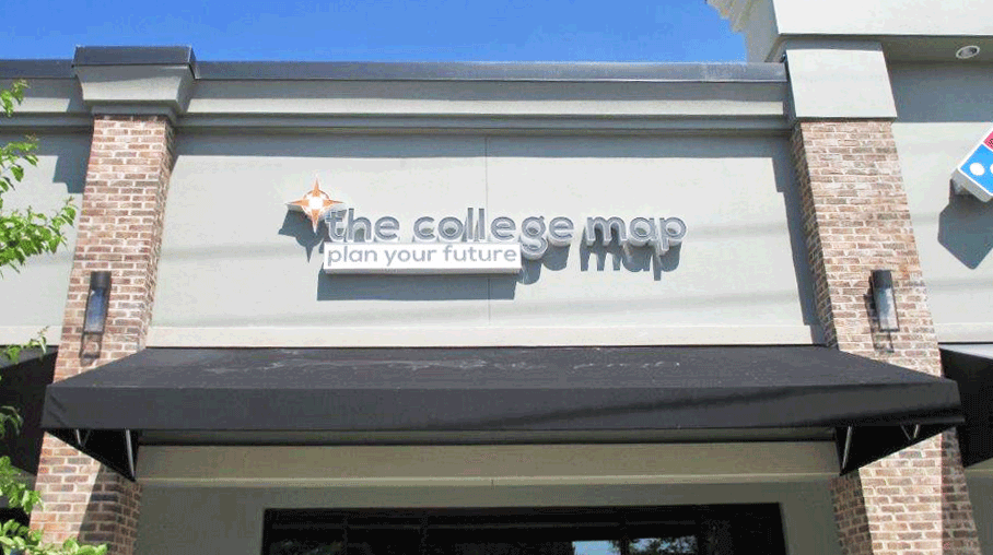The College Map Building Sign
