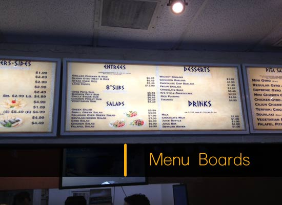 Drive-thru signs and Menu Boards