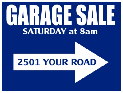 Garage Sale Yard Sign Blue Directional Template