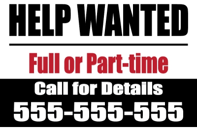 Help Wanted Yard Sign Black/Red Template